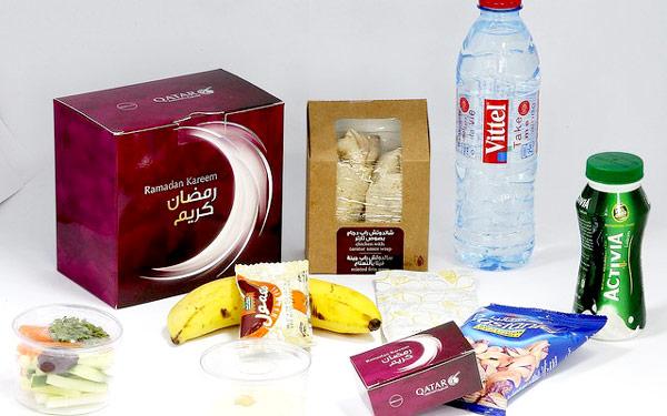 بسته بندی پذیرایی هواپیمایی قطر به مناسبت ماه رمضان