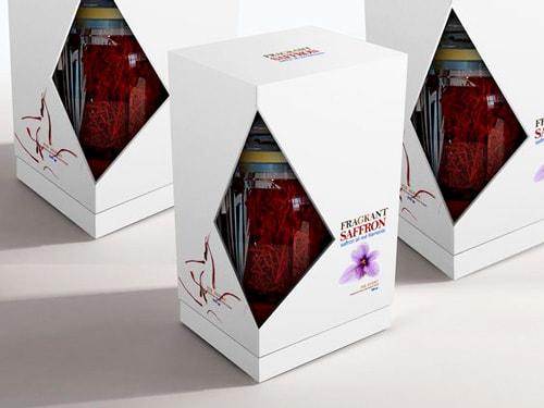 بسته بندی زعفران با جعبه نیمه باز